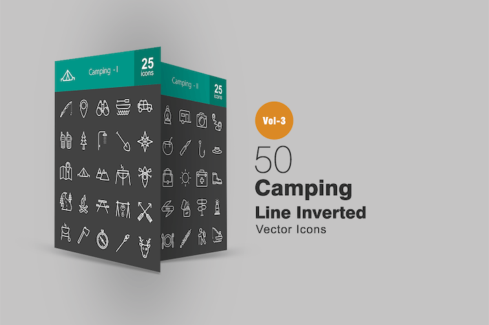 50 Camping Line Inverted Icons