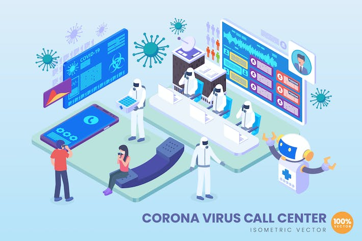 Thumbnail for Isometric Corona Virus Call Center Vector Concept