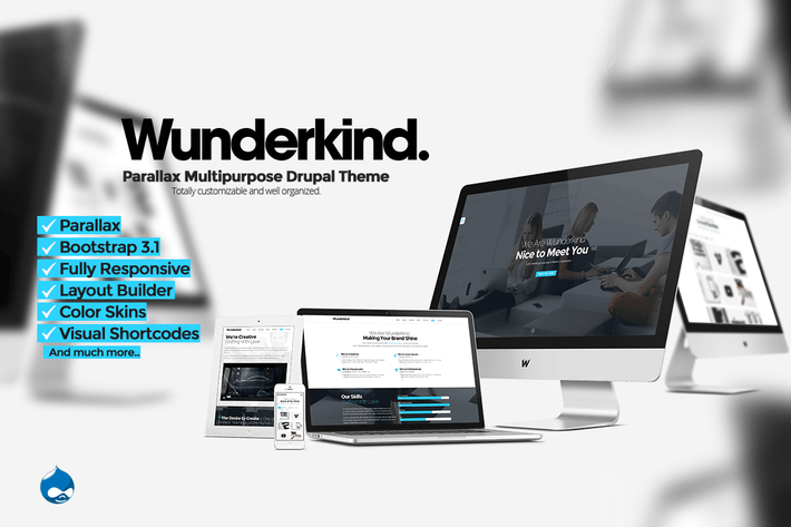 Thumbnail for Wunderkind - Uno Página Parallax Drupal 7 Tema