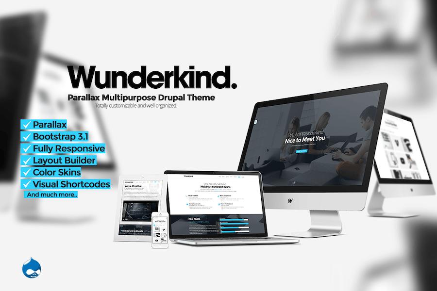 Wunderkind - Uno Página Parallax Drupal 7 Tema