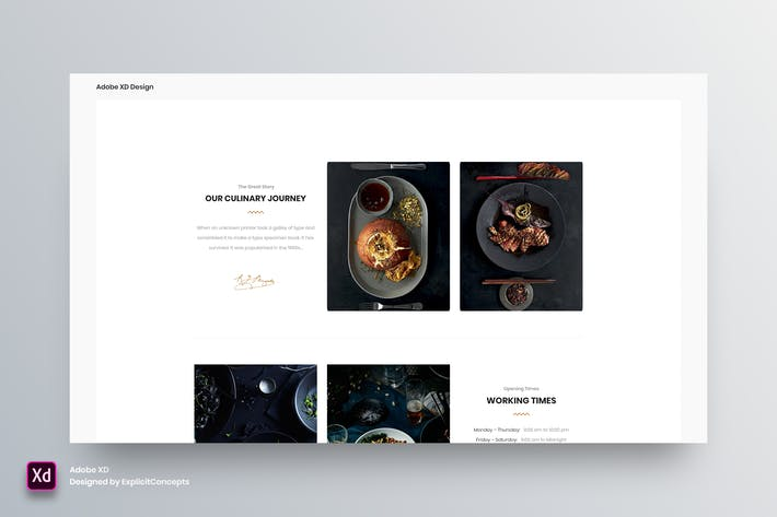 Cover Image For Restaurant Opening Times - Adobe XD