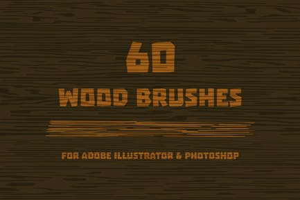 Pinceles de madera para Adobe Illustrator