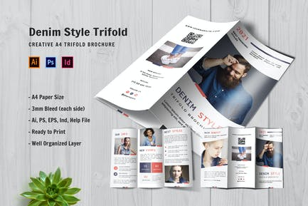Denim Style Trifold Brochure