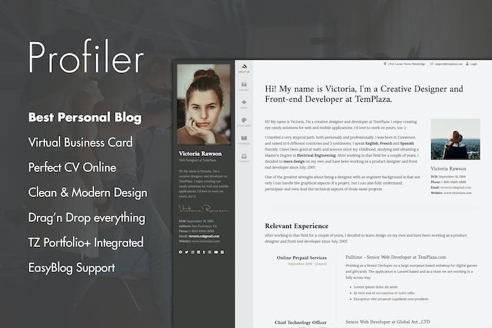 Thumbnail for Profiler - Personal Blog Joomla Template