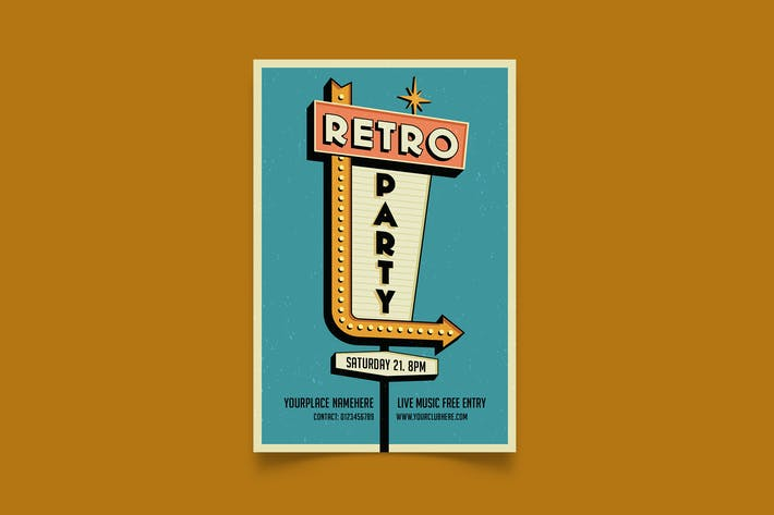 Retro Party/Retro Schild Flyer