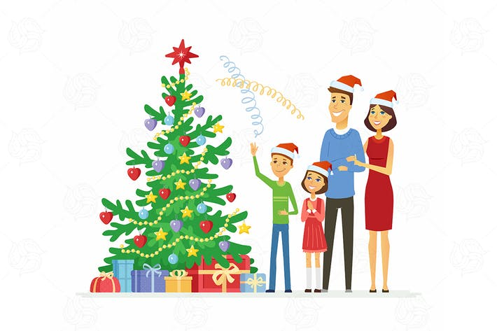 Thumbnail for Family celebrates Christmas - vector illustration