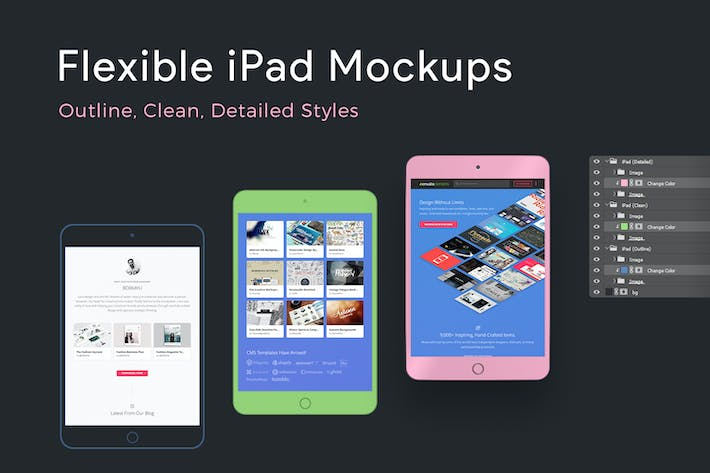 Thumbnail for Flexible iPad Mockups: Detailed, Clean, Outline