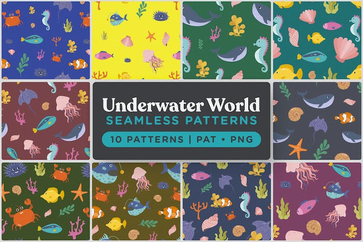 Thumbnail for Underwater World Seamless Patterns