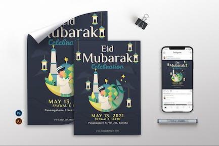 Eid Mubarak V2 - Flyer, Poster & Instagram GR