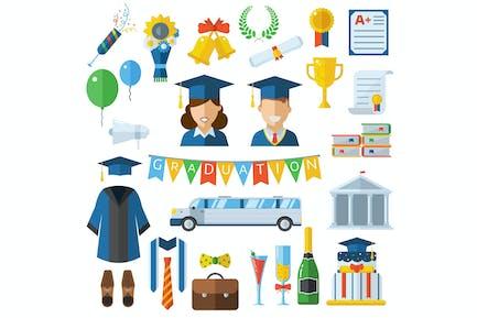 Graduierung feiern Icons und Elemente Set