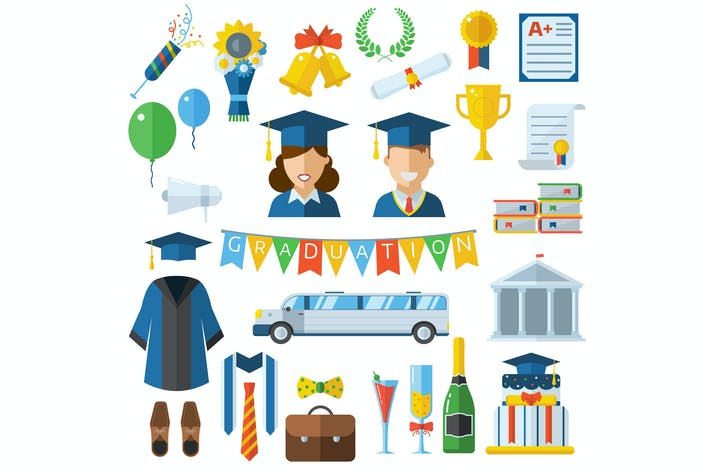 Thumbnail for Graduation Celebrating Icons and Elements Set