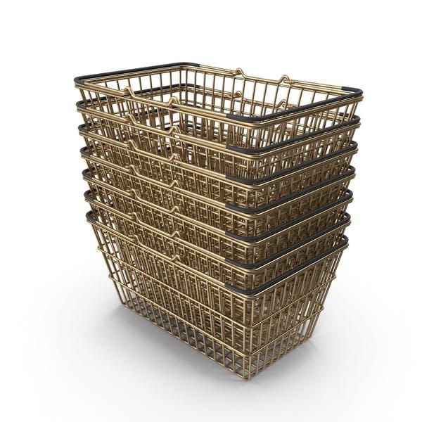Stack of Gold Supermarket Baskets With Black Plastic