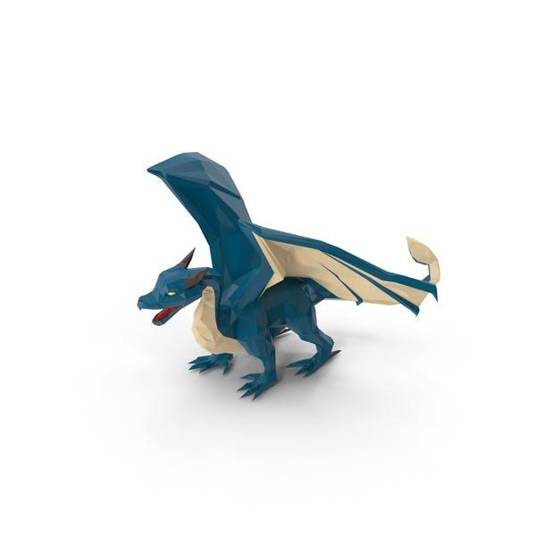 Low Poly Blue Dragon