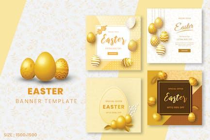 Golden Easter Day Social Media Post Template