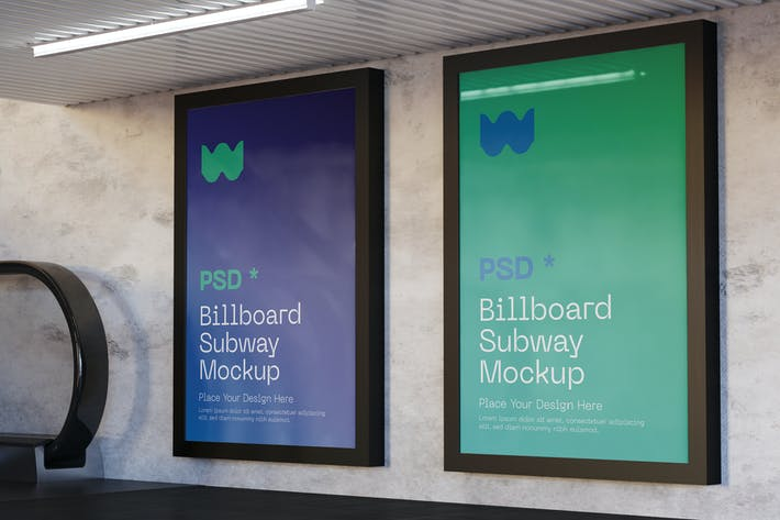 Thumbnail for Two Vertical Subway Advertisement Mockup