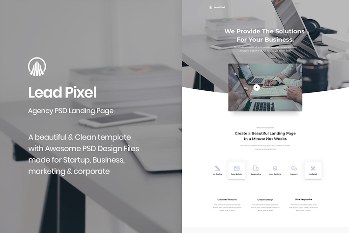 Thumbnail for LeadPixel - Agency PSD Landing Page