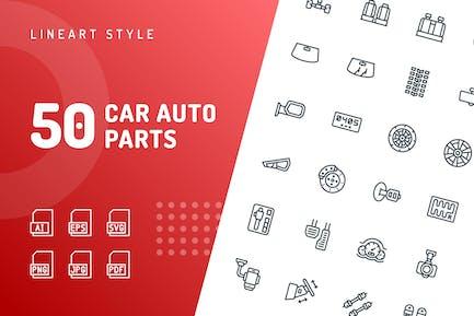 Car Auto Parts Line Icons
