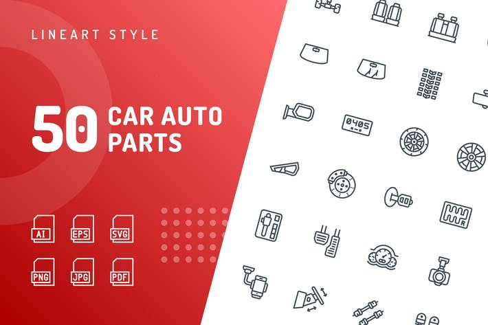 Thumbnail for Car Auto Parts Line Icons