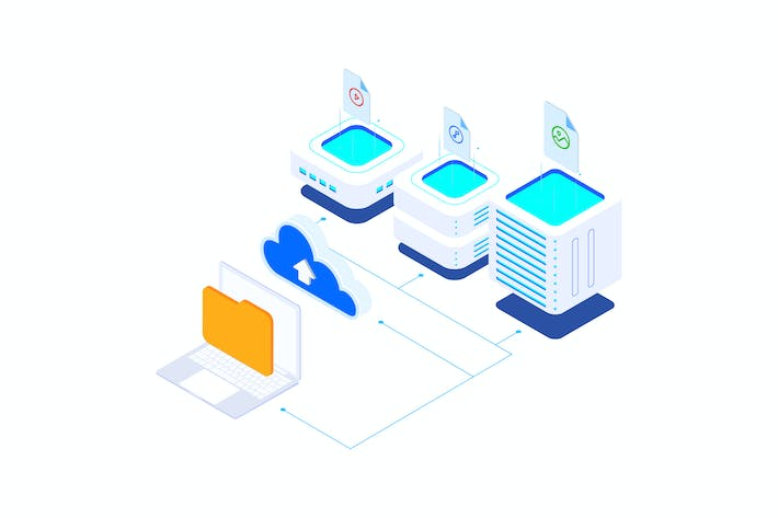 Thumbnail for Upload File Cloud on Blockchain Isometric 6 - T2