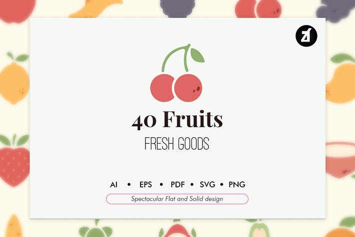 Thumbnail for 40 éléments de fruits dans un design plat et solide