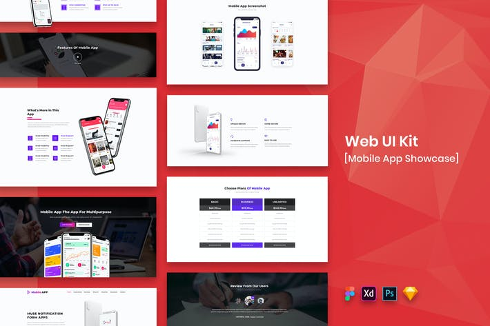 Thumbnail for Mobile App Showcase Web UI Kit