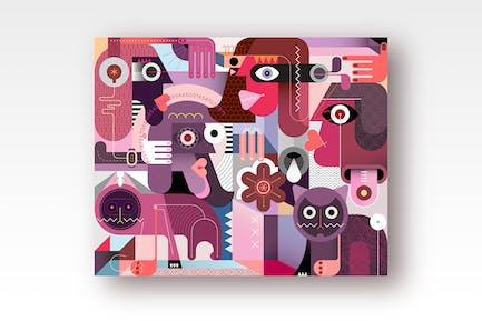 вектор иллюстрация «Люди и кошки»