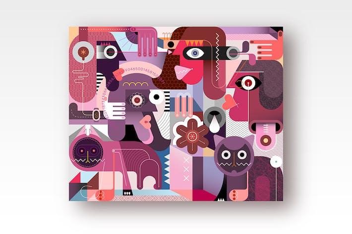 Thumbnail for Vektor illustration für Menschen und Katzen