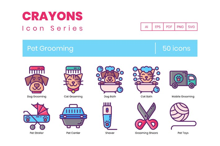 Thumbnail for 50 Pet Grooming Line Icons