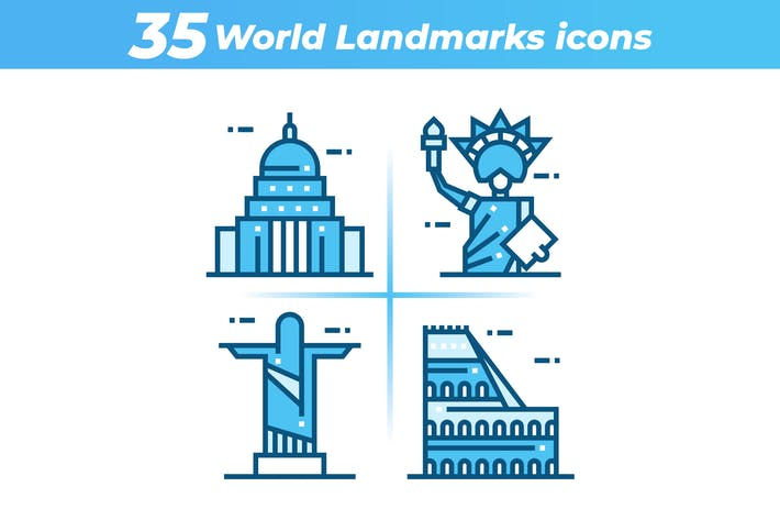 Thumbnail for 35 World Landmarks Icons