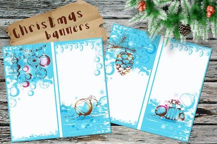 Banners azules de Navidad