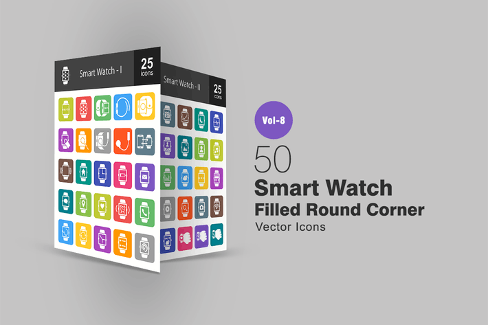 Thumbnail for 50 Smart Watch Filled Round Corner Icons
