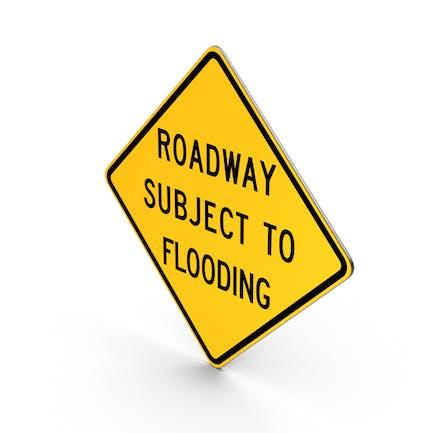 Wegweiser mit Überschwemmungszeichen