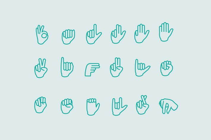 Thumbnail for 18 Sign Language Icons