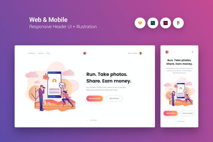 Thumbnail for Web & Mobile Responsive Cover UI + Illustration 5