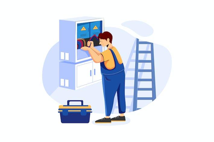 Electrical Hilfe Service Illustrationen Konzept