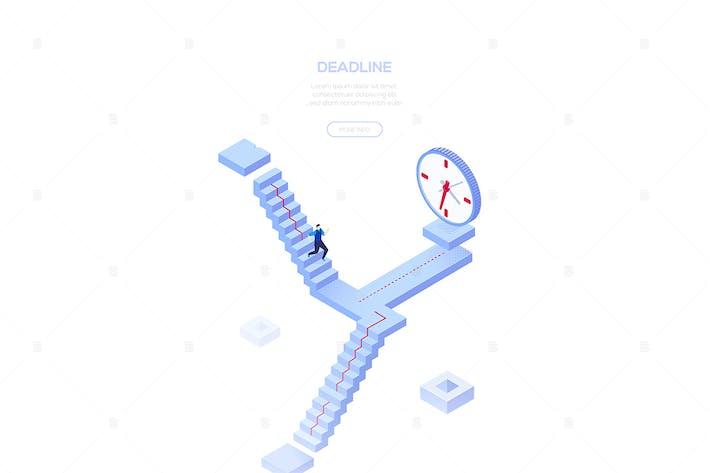 Thumbnail for Deadline concept - isometric web banner
