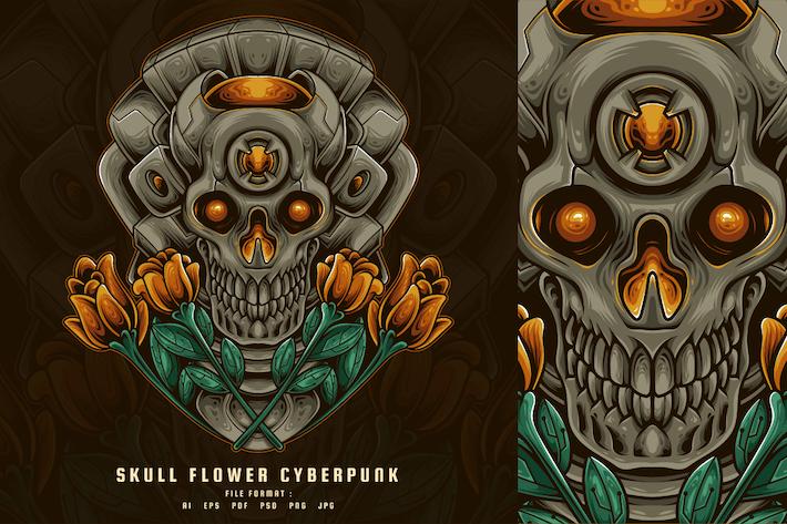 Skull Flower Cyberpunk