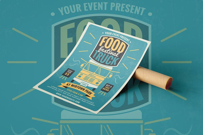 Thumbnail for Retro Food Truck Festival - Flyer Poster