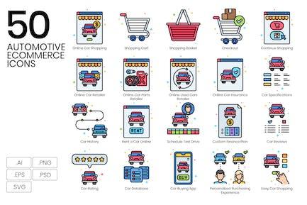 50 E-Commerce-Icons für den Automobilbereich - Vivid Series