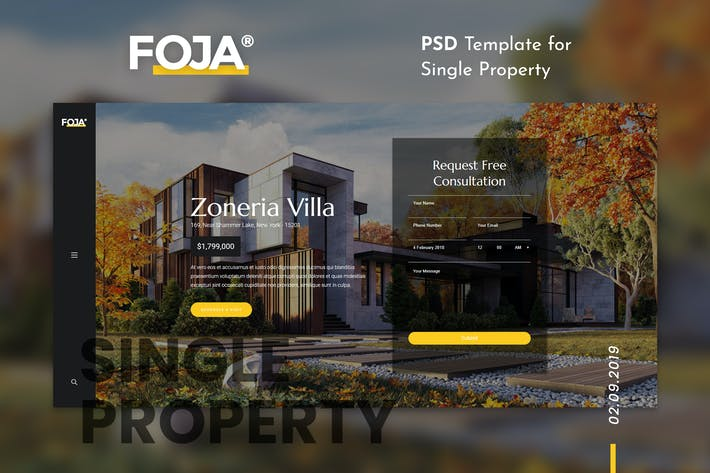 Thumbnail for Foja | Single Property PSD Template