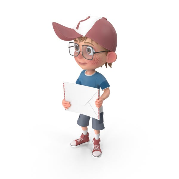 Cartoon Boy with Letter