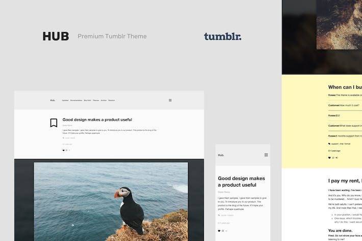 Thumbnail for Hub | One Column, Blogging Tumblr Theme