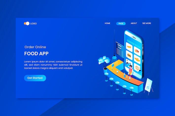 Thumbnail for Apps Online Food Order Isometric Concept Landing