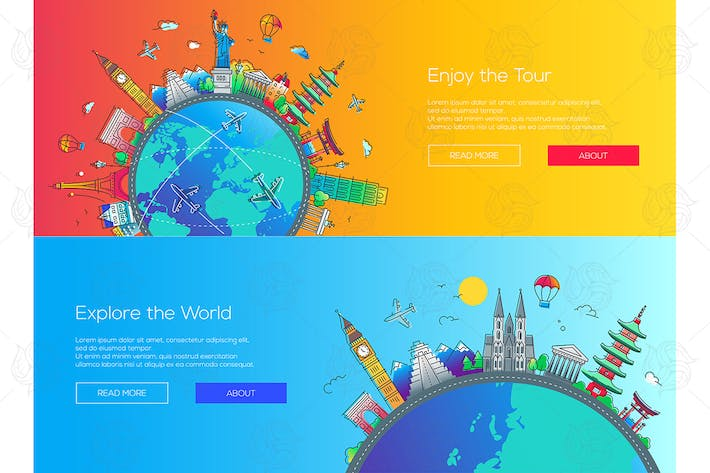 Thumbnail for Flat design web page travel banners set