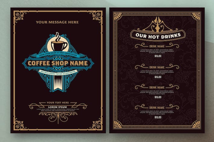 Coffee Shop Menu Layout