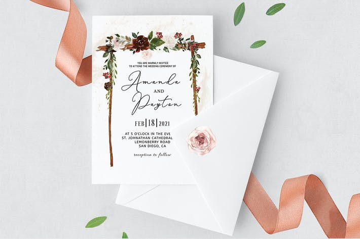 Thumbnail for Burgundy Floral Arch Wedding Invitation