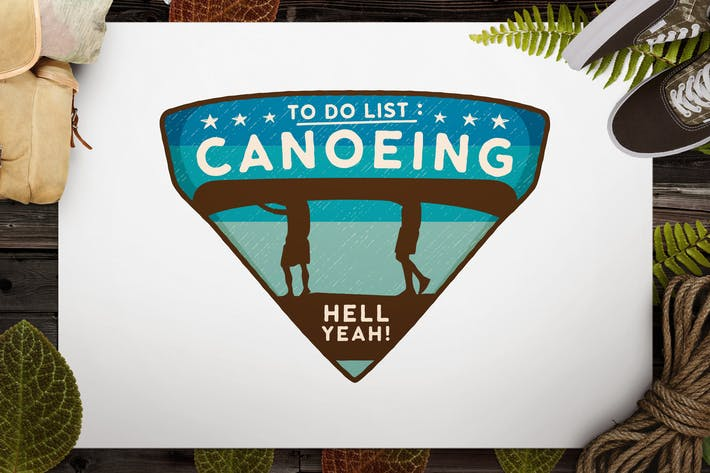 Thumbnail for Canoe Sports Logo / Retro Camping Badge / Patch