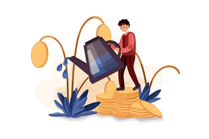 Thumbnail for Businessman watering dollar plant