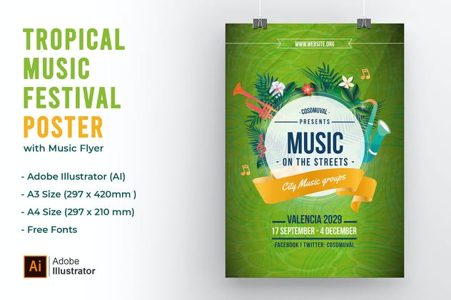 Tropical Green Music City Festival Poster & Flyer