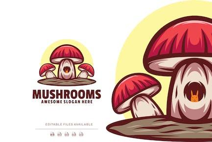Mushrooms Cartoon Logo